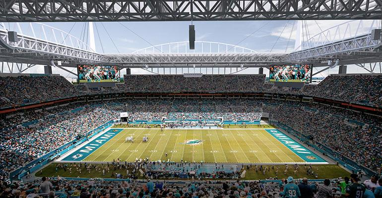 Hard Rock Stadium in Miami, home of the NFL's Dolphins, is one of Centerplate's major sports venue accounts.