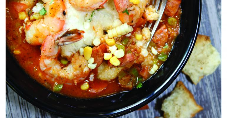 Shrimp and grits by Morrison Healthcare