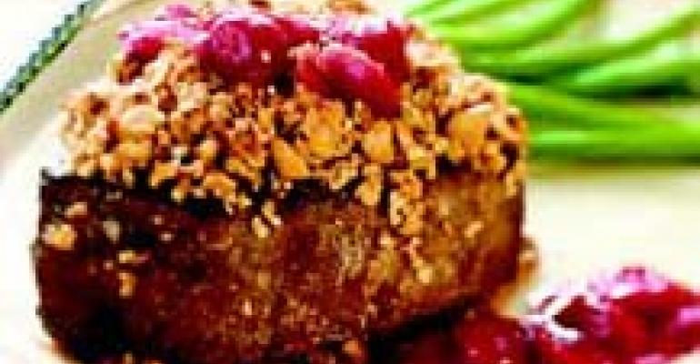 Hazelnut-Crusted Filet Mignon with Madeira Sour Cherry Sauce