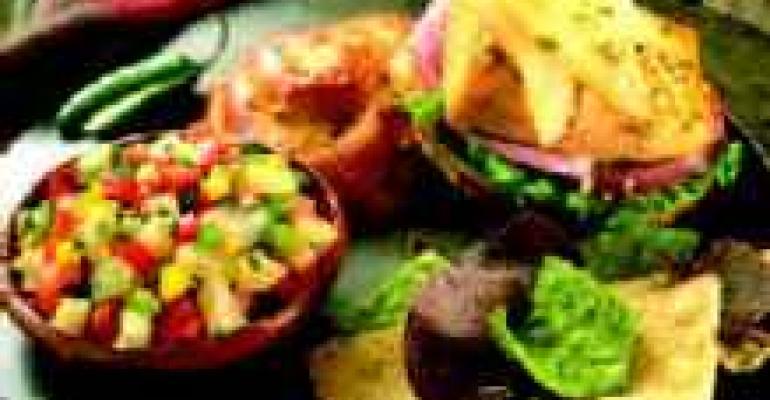Salmon Burgers with Cuban Pear Mojo Sauce