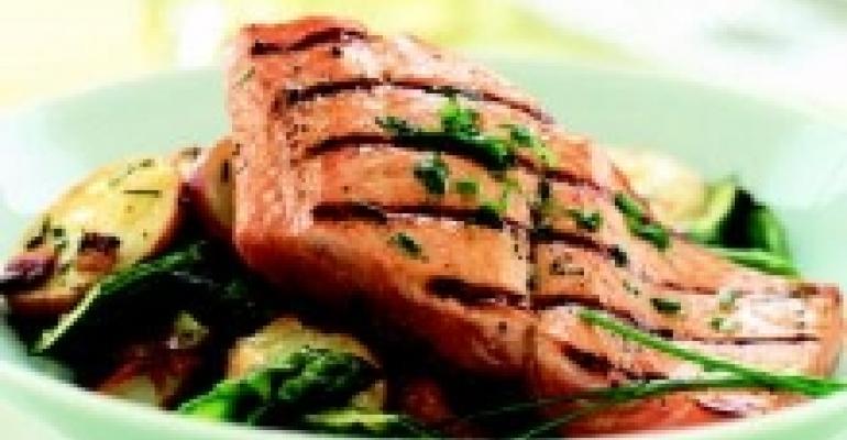 Flat Grilled Alaska Salmon with Bacon and Potato Hash