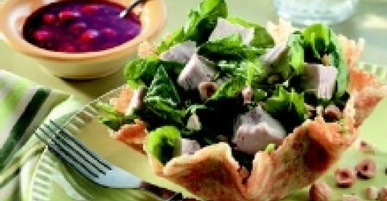 Turkey & Spinach Salad in Parmesan Bowls