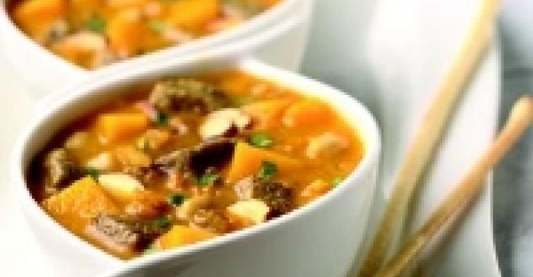 Autumnal Lamb Stew with Red Kuri Squash and Almonds
