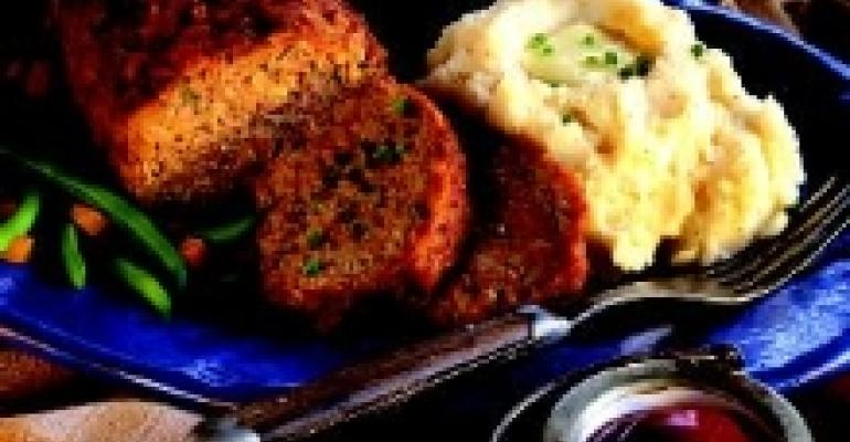 Oniony Meatloaf with Roasted Onion and Garlic Mashed Potatoes