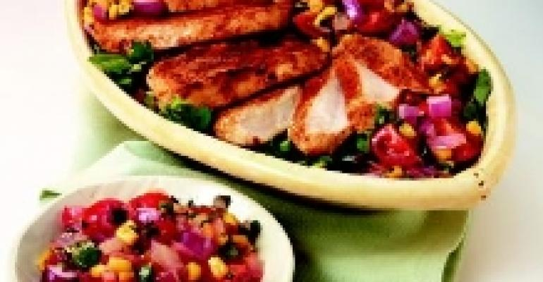 Chipotle Turkey Cutlets with Sweet Onion Charred Corn Salsa