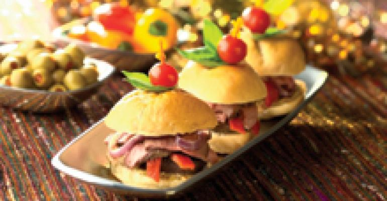 Petite Rolls with Lamb, Mushrooms and Red Onions