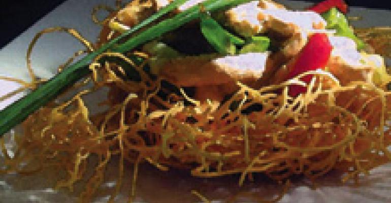 Oriental Chicken Stir-Fry Served in Bird's Nest