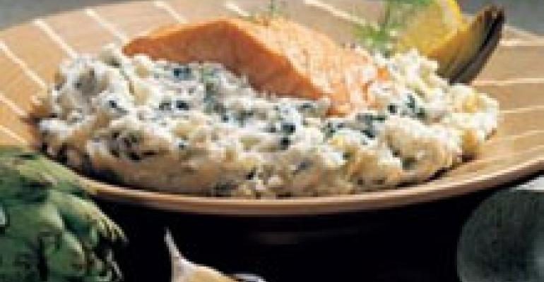 Salmon on Spinach and Artichoke Mashed Potatoes