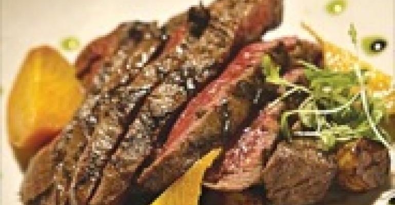Kobe Flat Iron Steak with Marble Potatoes and Balsamic