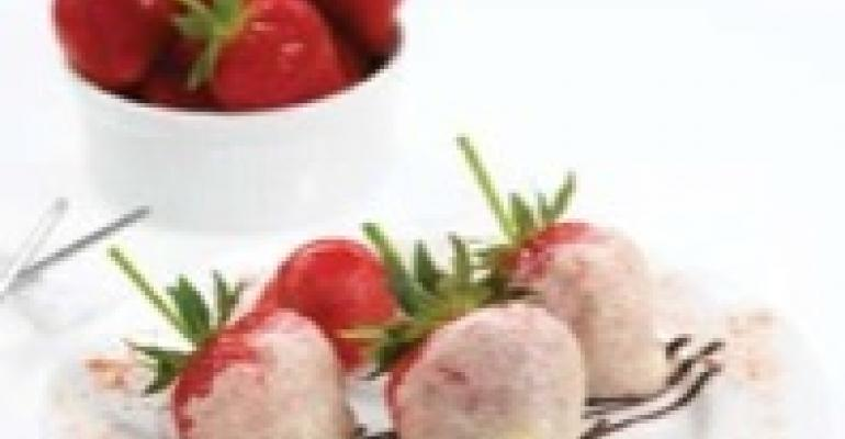 Strawberry Tempura with Bittersweet Ginger Chocolate Sauce