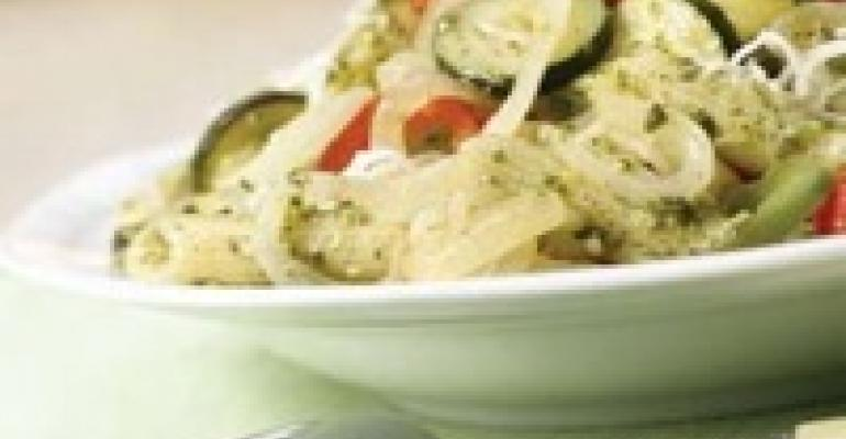 Pasta Primavera with Caramelized Onions