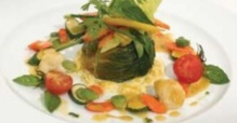 Steamed Lettuce and Carrot Gateau with Curry Sauce