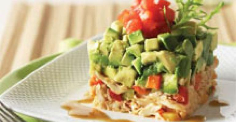 Hass Avocado Salad with Maryland Lump Crabmeat, Trio of Peppers and Crisp Frise (cover)