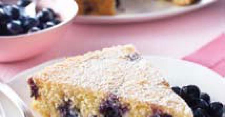 Blueberry Polenta Cake with Blueberry Compote
