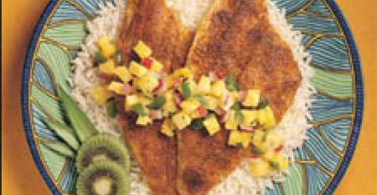 Caribbean Alaska Sole with Pineapple Mint Salsa