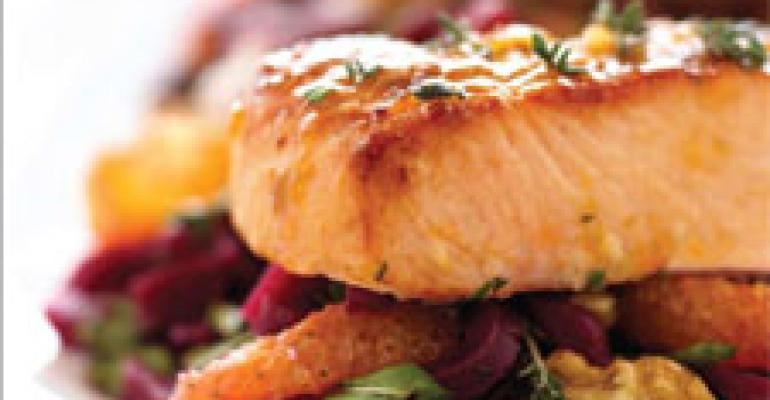 Citrus-Glazed Wild Alaskan Salmon Salad with Beets, Oranges, and Arugula