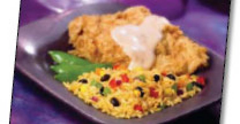 Santa Fe Chicken Fried Chicken with Cheddar Confetti Rice