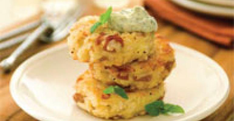 Prosciutto & Asiago Rice Cakes with Pesto Aoli