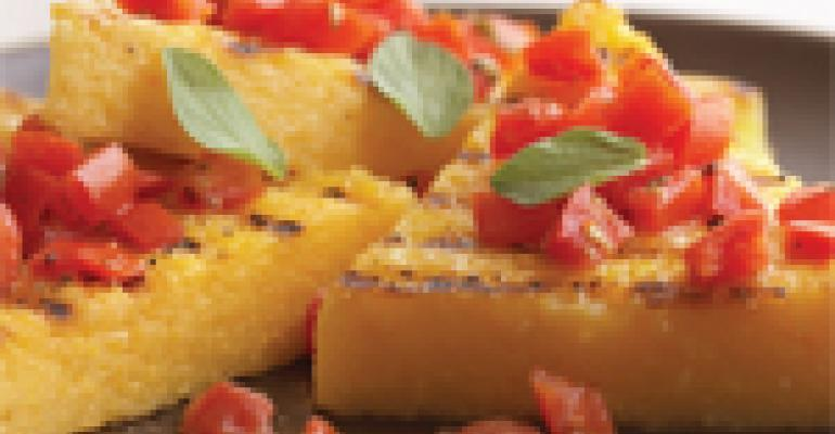 Grilled Polenta with Bruschetta Topping