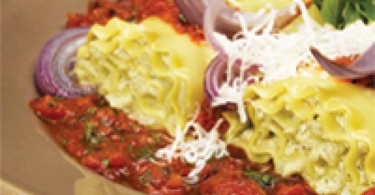 Pesto-Onion-Ricotta Lasagna Rolls
