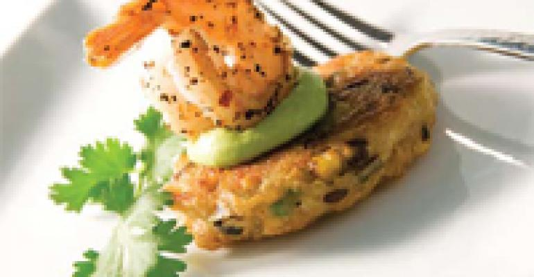Whole Grain Five Roasted Corn Pancake with Avocado Mousse and Baja Shrimp