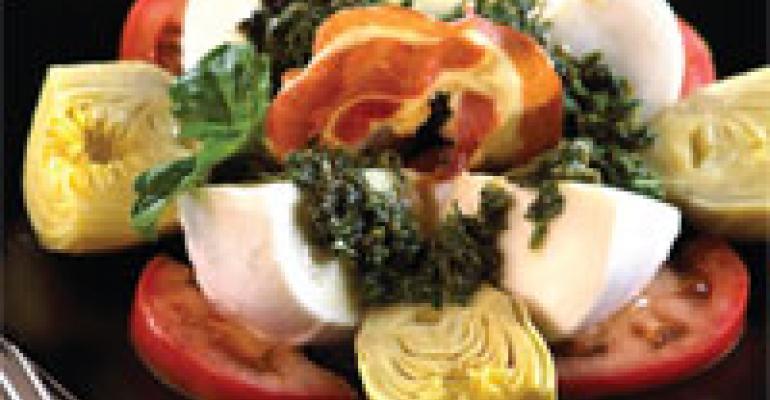 Braised Artichokes with Fresh Mozzarella, Herb Sauce & Pancetta Chip