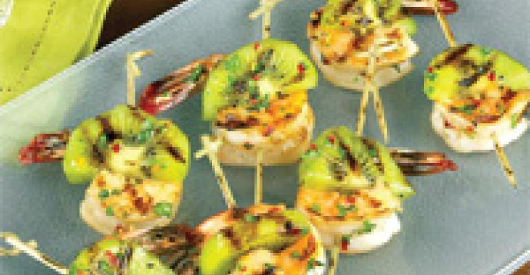 Grilled Kiwi and Prawn Skewers