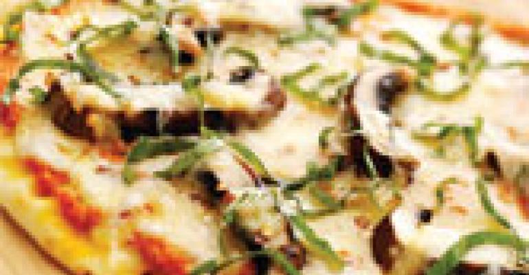 Flatbread Pizza with Romesco Sauce, Portobellos, Mozzarella and Smoked Gouda