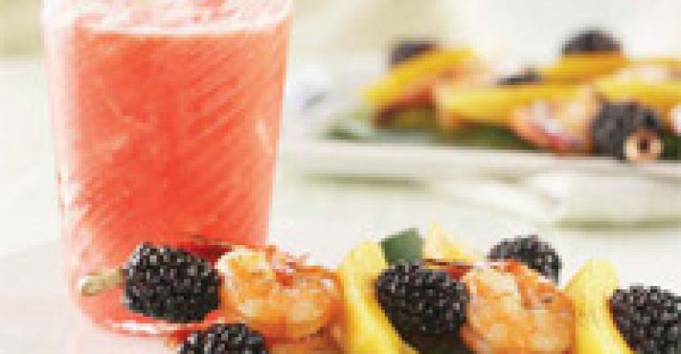Skewered Shrimp and Blackberries with Sesame Ginger Marinade