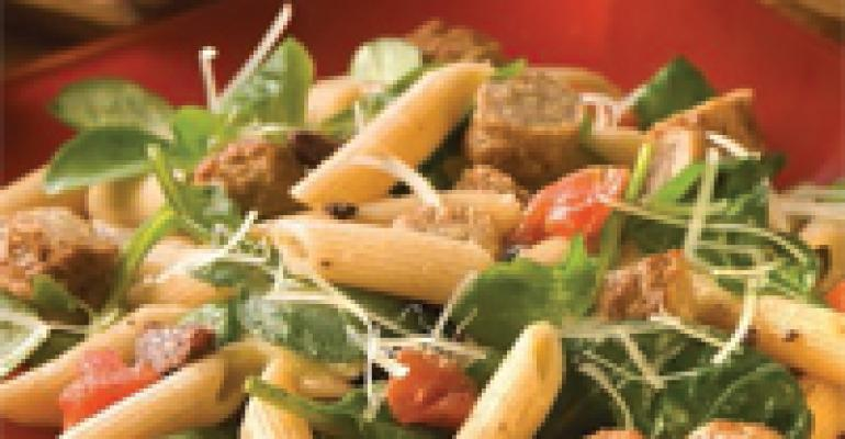 Pasta Salad with Turkey Sausage, Arugula and Olives