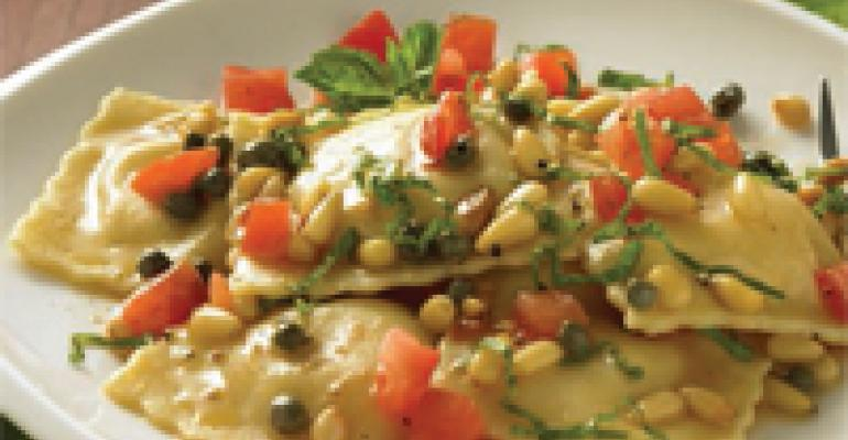 Pear and Gouda Ravioli with Pine Nuts, Capers, Tomato and Basil
