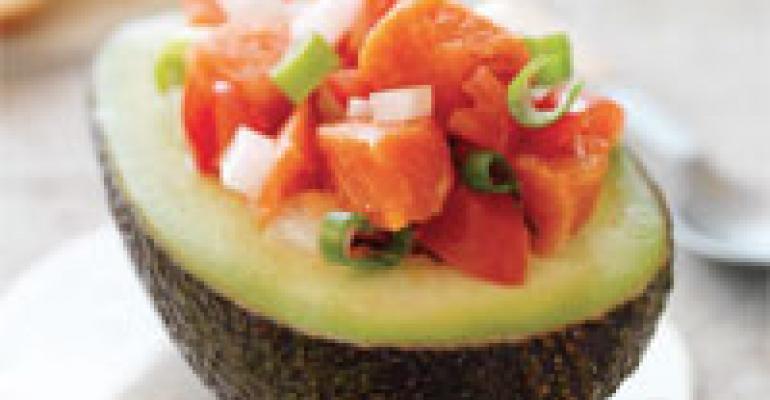 Lomi Lomi Salmon in an Avocado Half