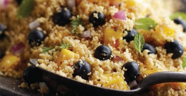 Blueberry Couscous Salad with Mango, Onion and Lemon Dressing
