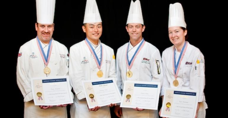 The UMass Gold Medal team consisted of l to r Pastry chef Simon Stevenson Chef Anthony Jung of Berkshire Dining Commons Chef Shawn Stemp of the University Club and culinarian Taylor Whittemore of Berkshire Dining Commons