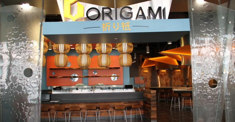 The Japanese steakhouse style Origami station is just one of the dining options at Virginia Techs new Turner Place dining center
