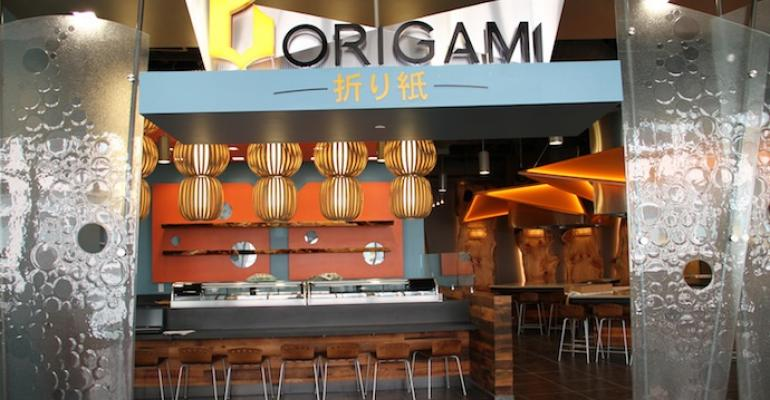 The Origami Japanese steakhouse station in Virginia Techs newly opened Turner Place dining venue