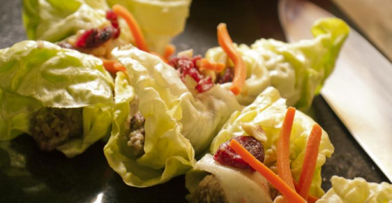 The vegetarian Cranberry Nut Compote Wrap selection from UConns new Sain raw bar menu