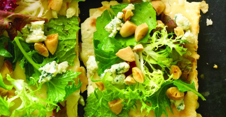 Lavash with a Salad of Greens, Gorgonzola & Toasted Almonds