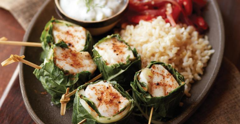 Swiss Chard-Wrapped Alaska Rockfish Skewers