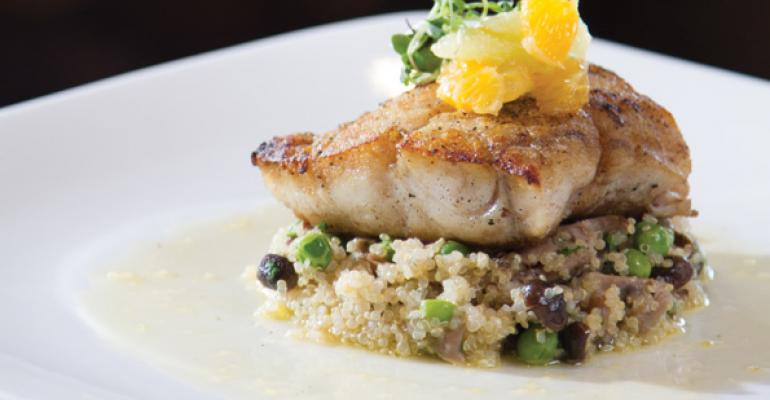 Pan Roasted Atlantic Pollock with Quinoa Peas Mushrooms and Citrus Vinaigrett