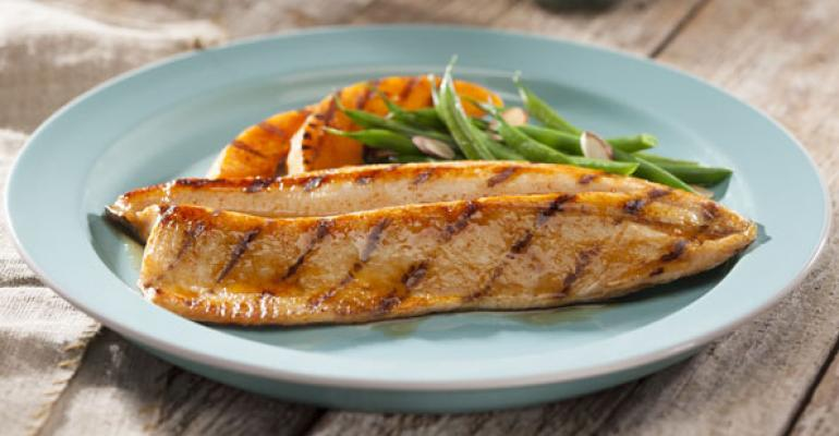 Maple Chipotle Glazed Trout with Grilled Winter Squash