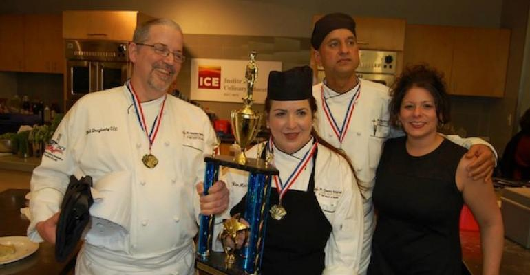 The winning AHF Big Apple Culinary Competition team from St Charles Hospital l to r Chefs Bill Dougherty Kim Marie Vargas Mahindranath Maraj and Team Director Stephanie Giraulo