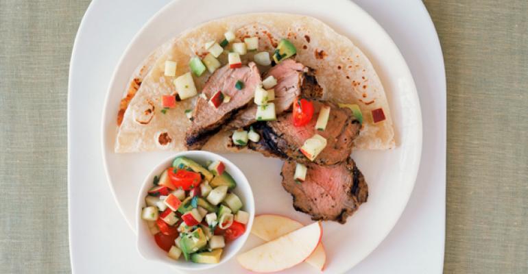 Pork Fajitas with Apple-Cilantro Salsa