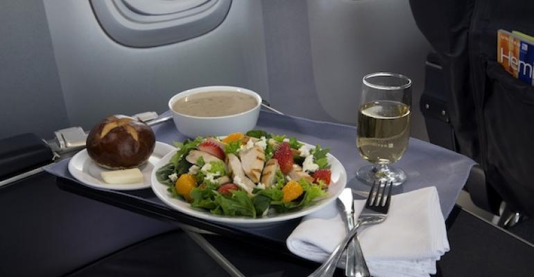 The new Strawberry Fields Salad recently introduced by United Air Lines as part of its firstclass menu upgrade