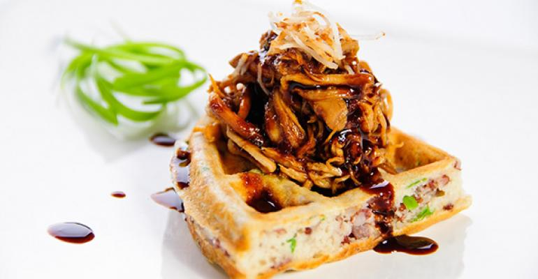 Red Jasmine Rice & Coconut-Ginger Waffles with Adobo