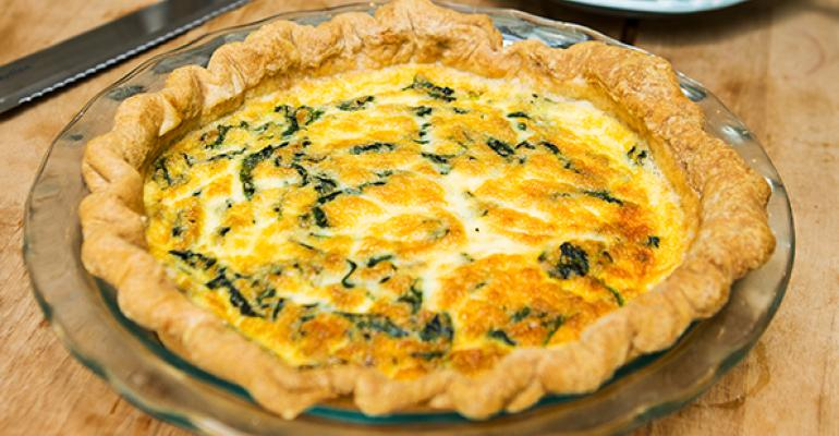Quiche filled with Jamon Serrano, Mushrooms, Melting Manchego Cheese
