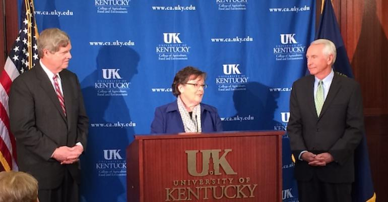 Agriculture Secretary Tom Vilsack l UK College of Agriculture Food and Environment Dean Nancy Cox and Gov Steve Beshear announce the USDA Rural Child Poverty Nutrition Center at the University of Kentucky