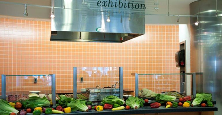 An exhibition station at a Corporate Chefs highend corporate dining location