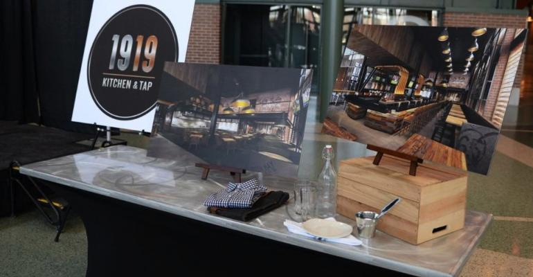 Display of the new eatery39s logo and architectural photos during the news conference announcing the 1919 Kitchen amp Tap