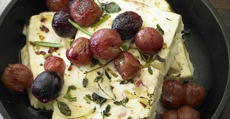 Baked Feta Cheese with Roasted Grapes